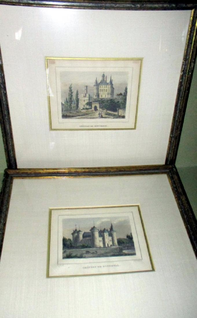 Pair of Antique French Chateau Engravings