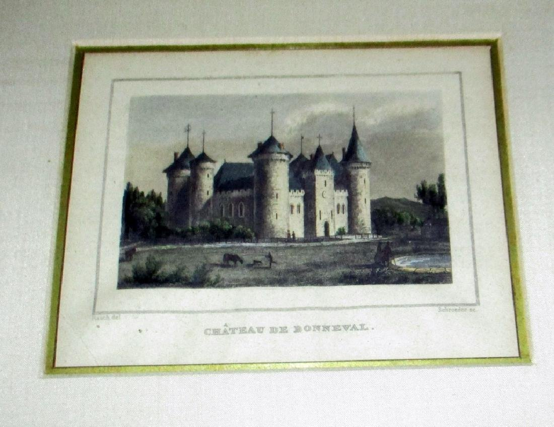 Pair of Antique French Chateau Engravings - 3