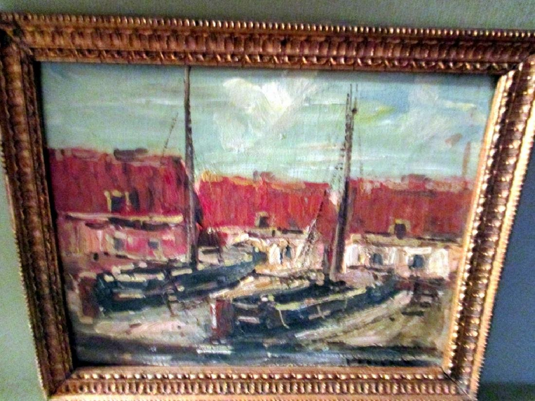 Signed Impressionist Painting of Boats