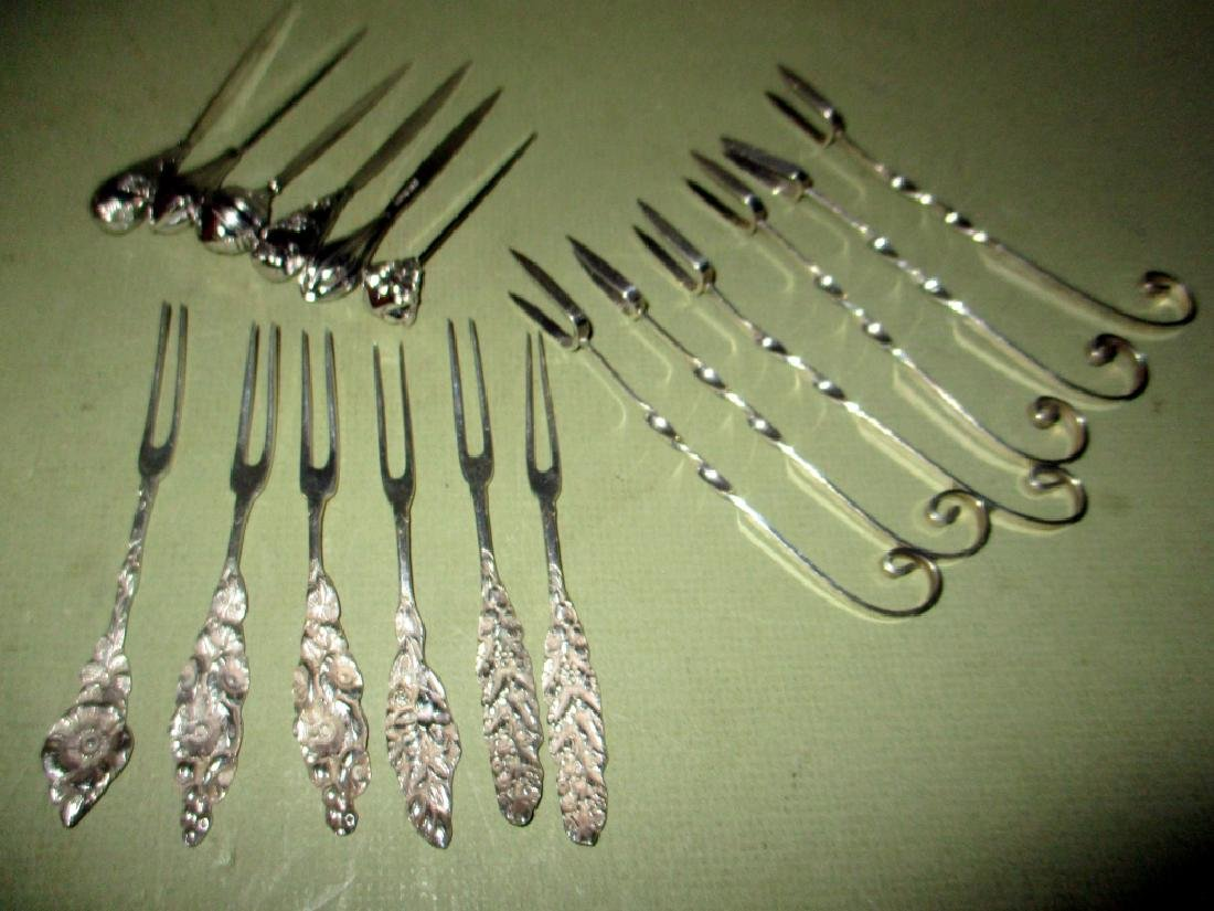 Three Sets Six Sterling Hors d'oeuvre Forks & Pick