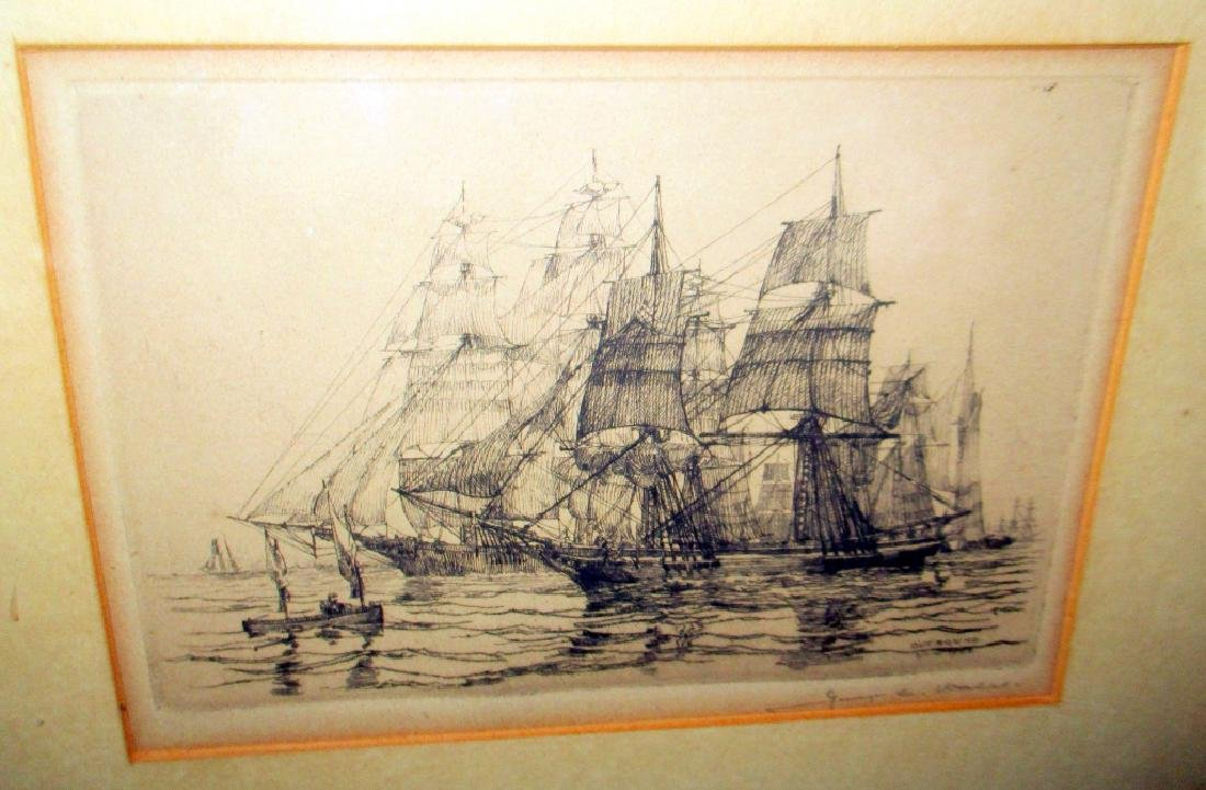 Etching of Sail Ships by Geo C. Wales