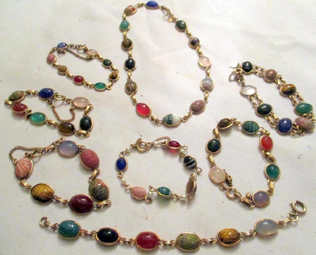 Lot of Eight Pieces of Scarab Jewelry