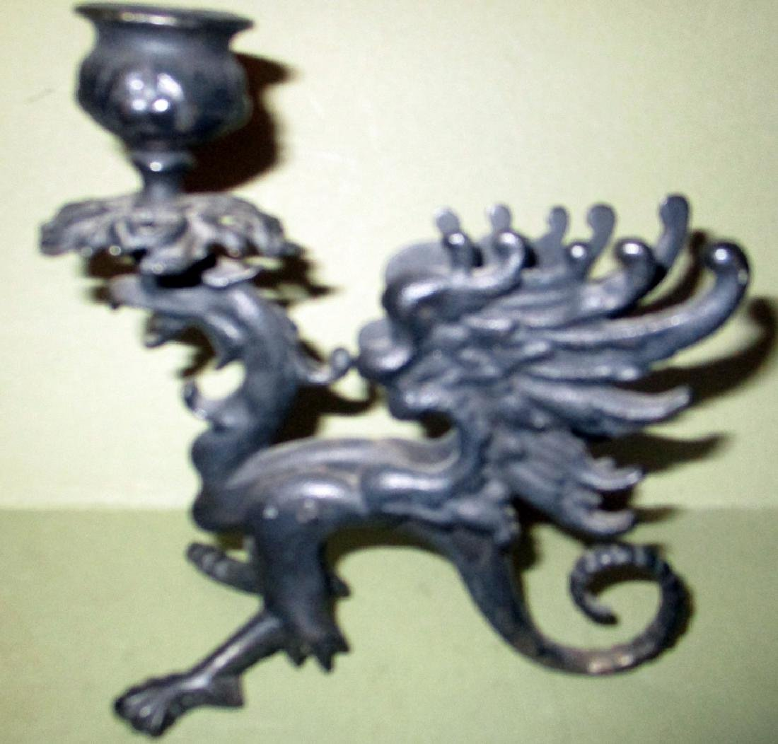 Pair of Winged Griffin Candle Holders - 2