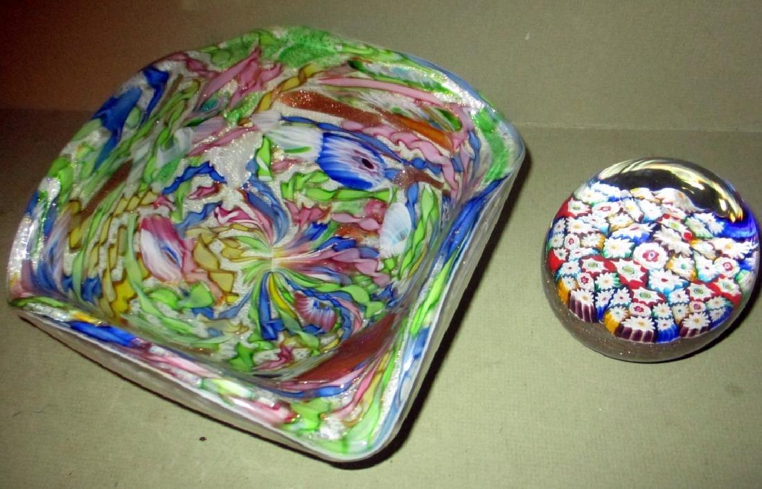 1950s Murano Glass Bowl & Paperweight