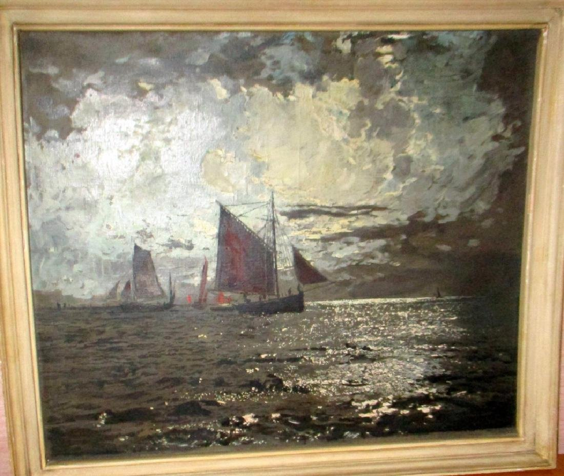Impressionist Painting, Sailboats, Marcel Clement