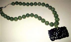 Jade Bead Necklace with Pendant
