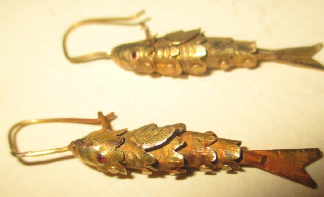 Pair of 14k Gold Pierced Fish Earrings
