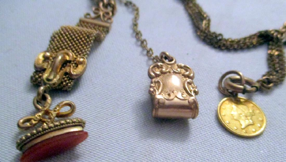 Two Gold Filled Victorian Watch Chains w/ Fobs