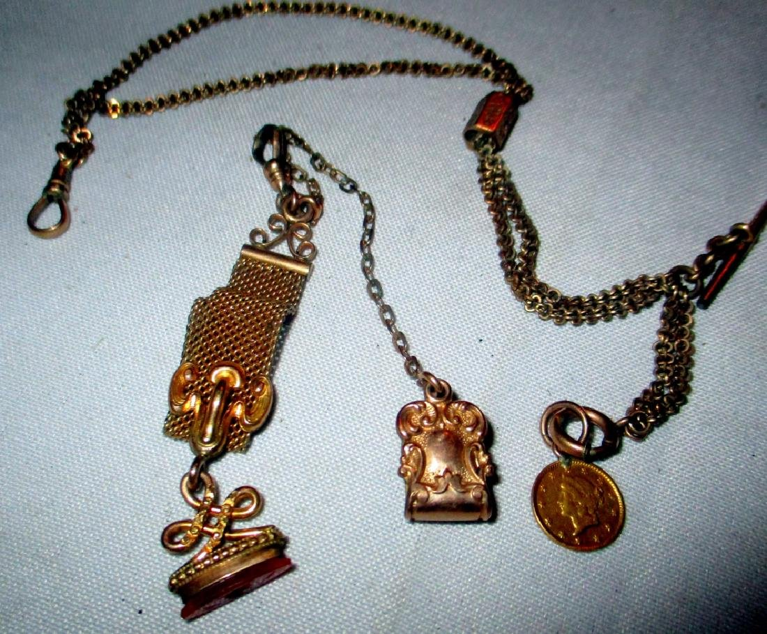 Two Gold Filled Victorian Watch Chains w/ Fobs - 2