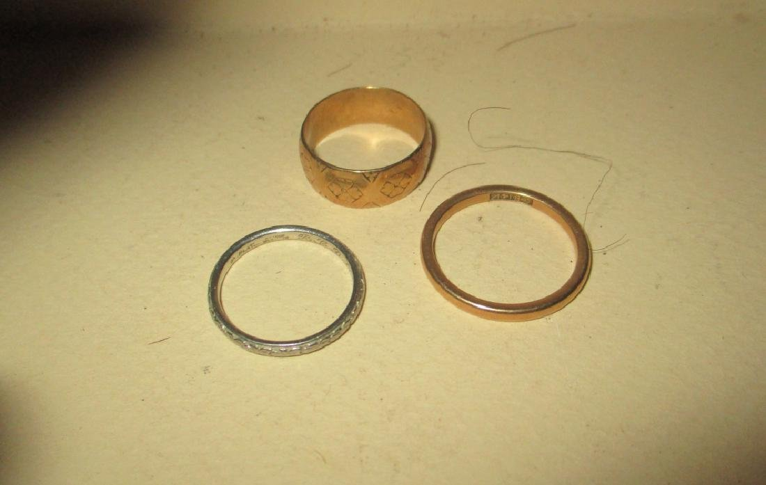 Three Wedding Bands Platinum and Gold