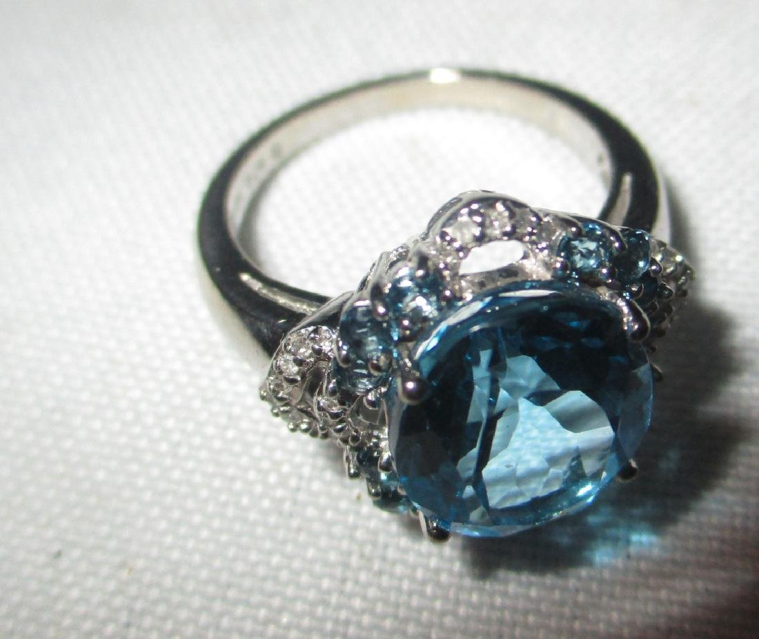 10K White Gold Lady's RIng Set With Blue Topaz - 2