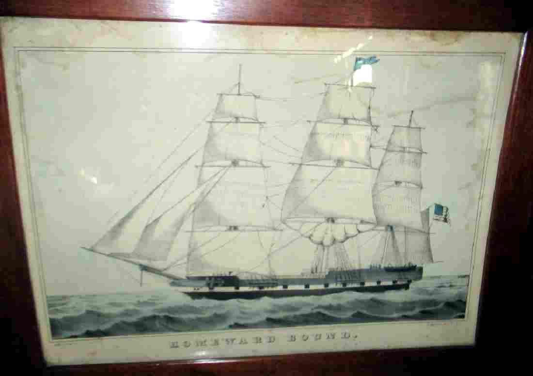 N. Currier Lithograph of an American Ship