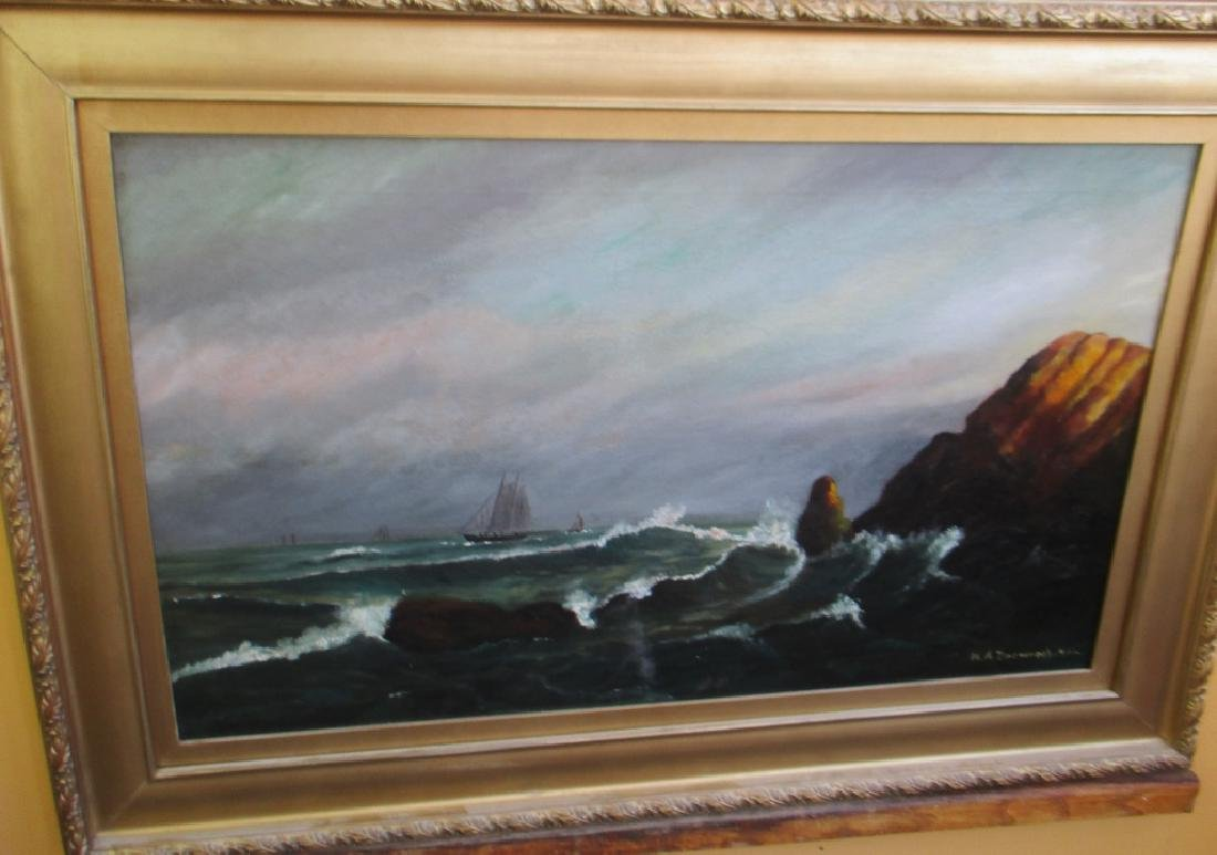 M A Brownell 1916 Marine Painting on Canvas