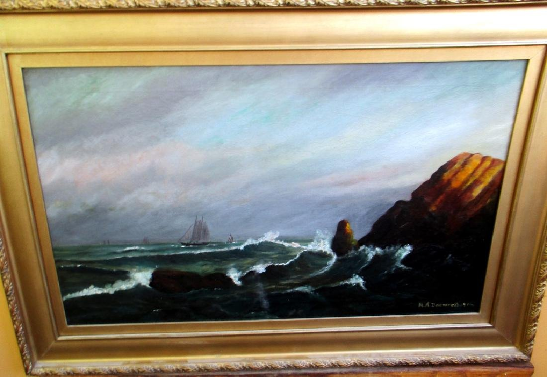 M A Brownell 1916 Marine Painting on Canvas - 2