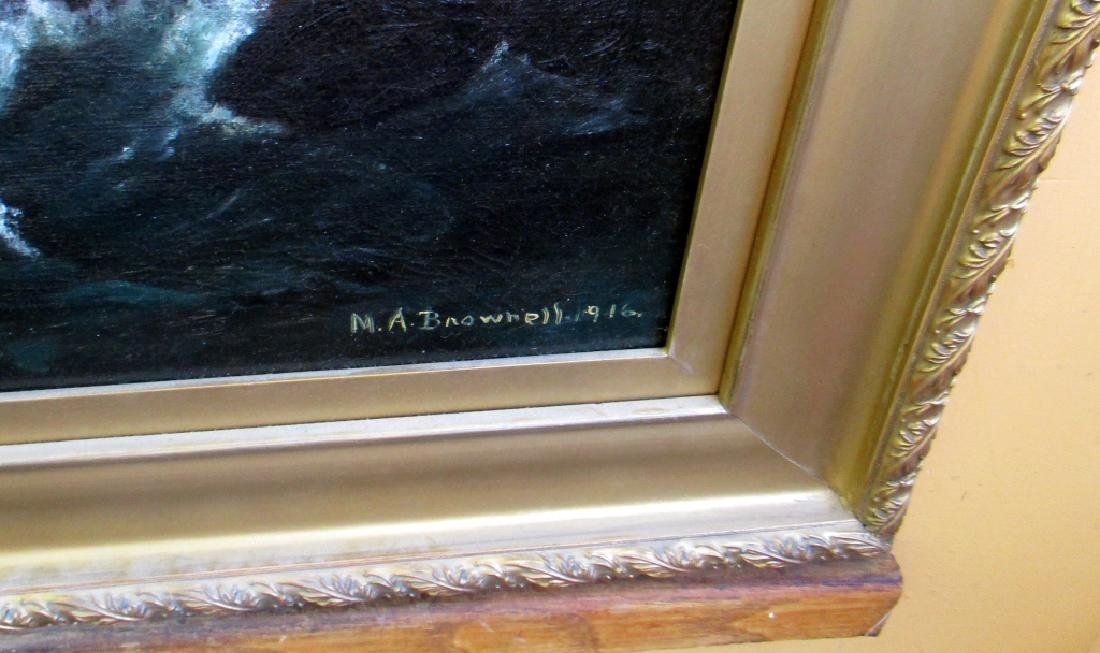 M A Brownell 1916 Marine Painting on Canvas - 3