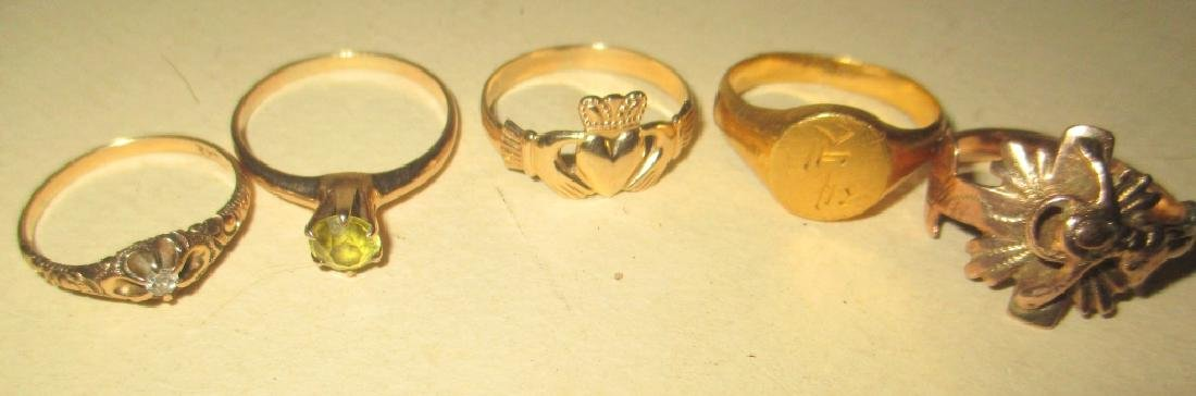 Lot of Five 14K Gold Lady's RIngs