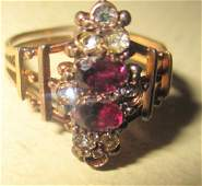 Victorian Lady's 14 KT Gold Ring with Stones
