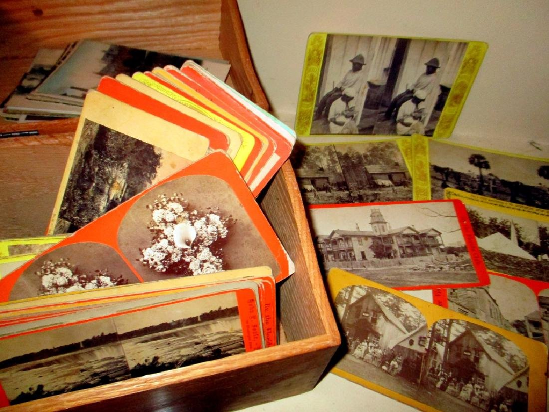 Small Oak Box with Stereoptic Card Views - 2