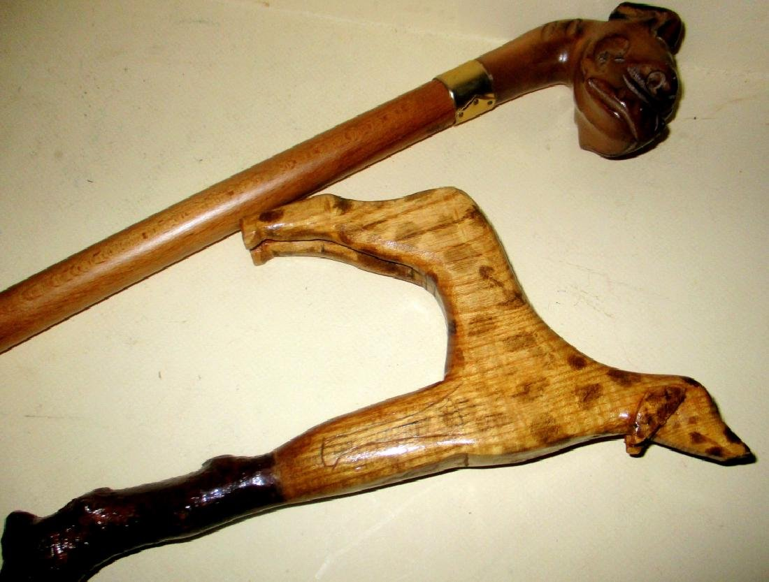Two Dog Handle Canes (Not Antique)