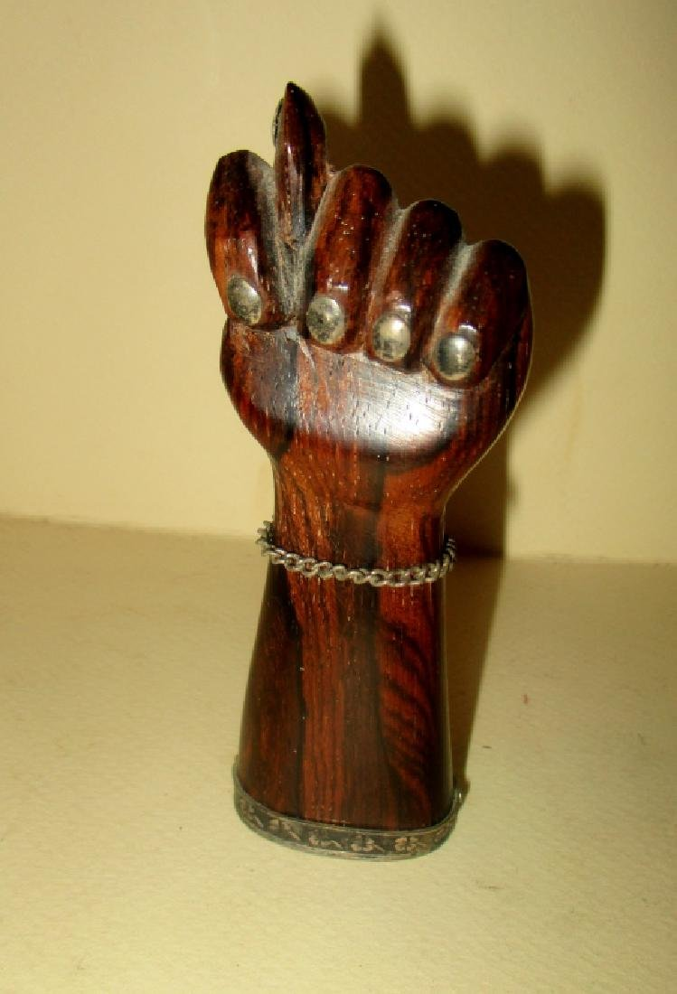 Carved Wood & Silver Figa