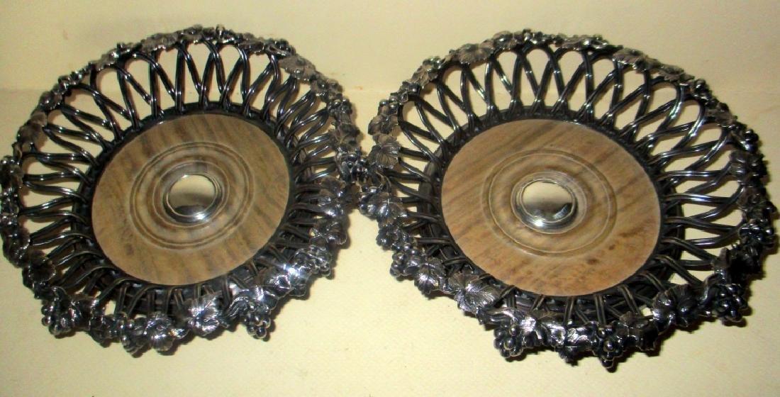Pair of Wonderful Silver Plate Wine Coasters