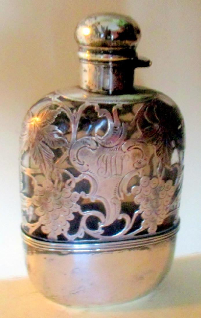 Sterling Silver Clad Victorian Flask