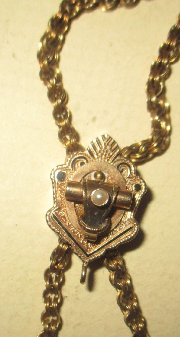 Lady's Victorian Watch Chain w/ Gold Slide