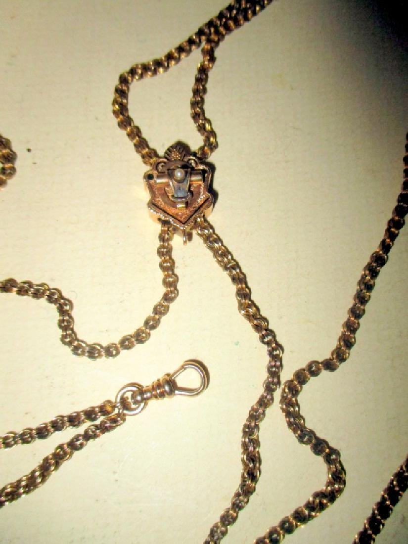 Lady's Victorian Watch Chain w/ Gold Slide - 2