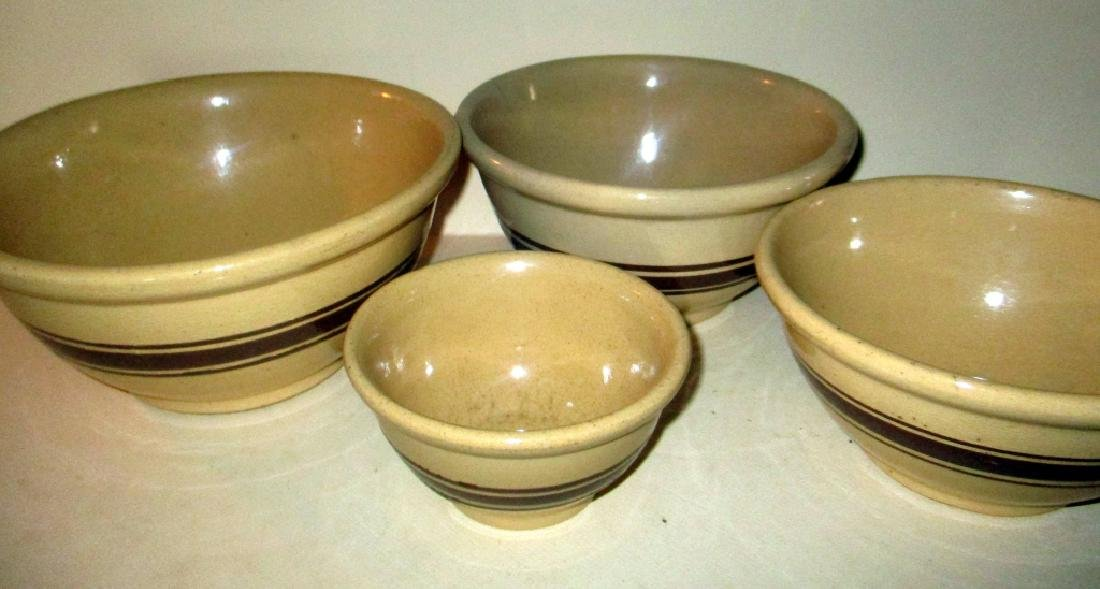 Set of Four Yellow Mixing Bowls