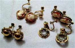 Four Pair of Gold Filled Vintage Earrings