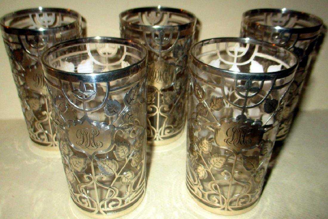 Set of Five Sterling Overlay Drink Glasses