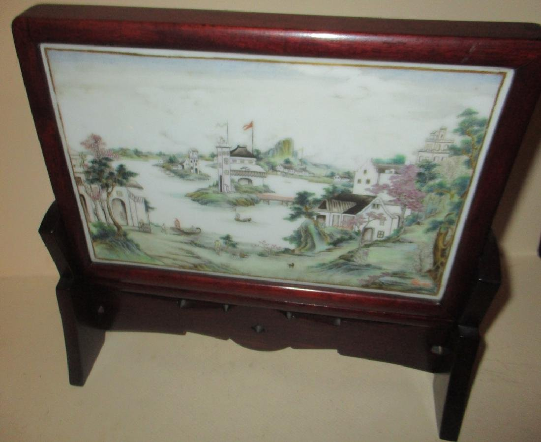 Chinese Hand Painted Porcelain Table Screen