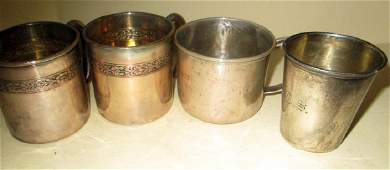 Four Sterling Child Cups