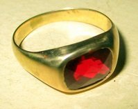 Man\'s 14k Gold and Ruby Ring