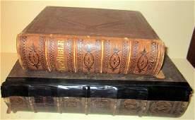Two 19th C Bibles Large Folio  Elliot Genealogy