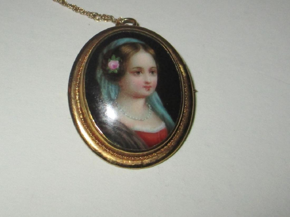 Hand Painted Porcelain Brooch / Pendant