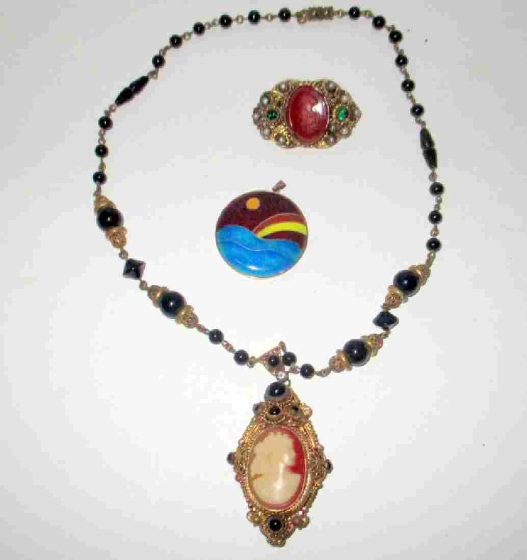 Three Piece Lot of Antique Costume Jewelry