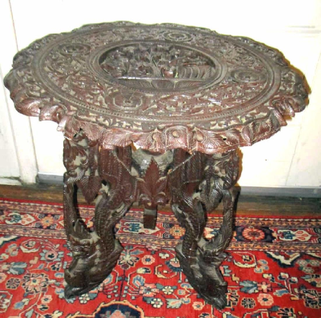 Antique Carved Wood Oriental Stand