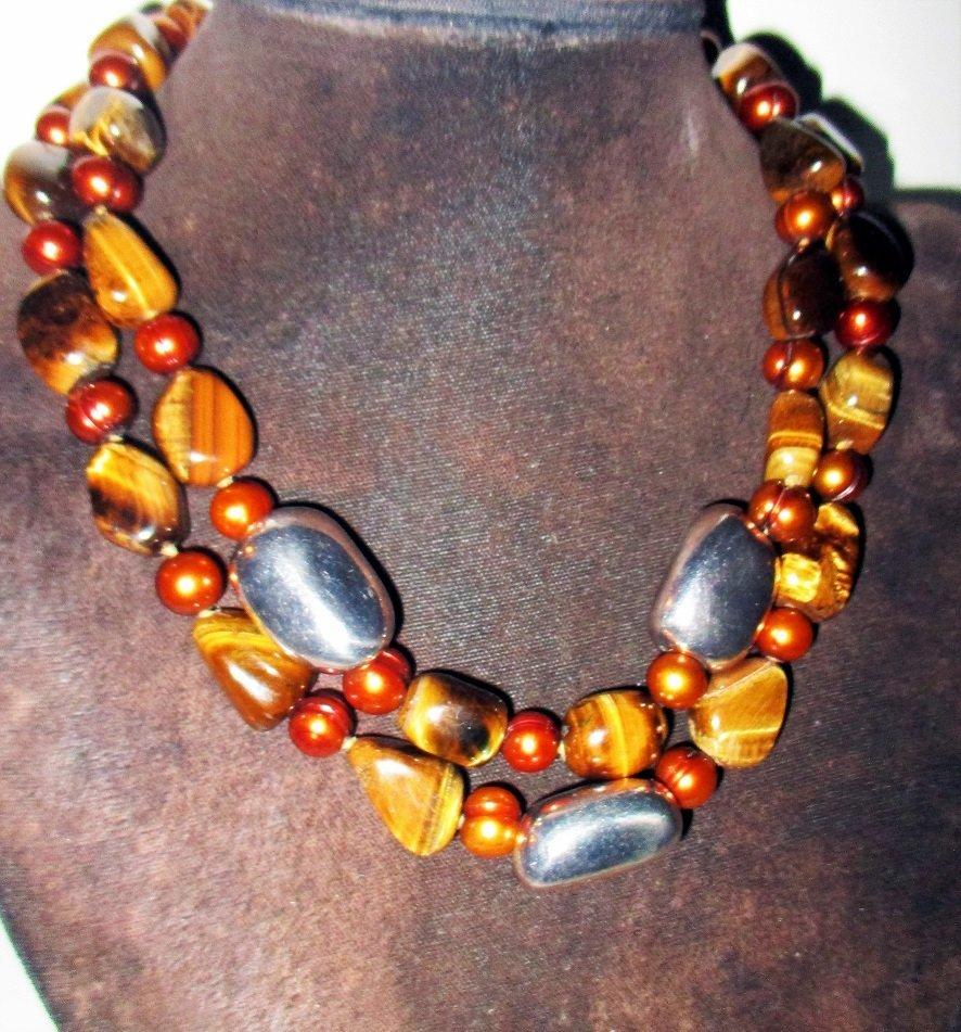 Tiger Eye & Sterling Necklace