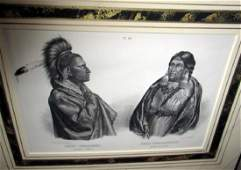 19th C Engraving of American Indian by Bodmer