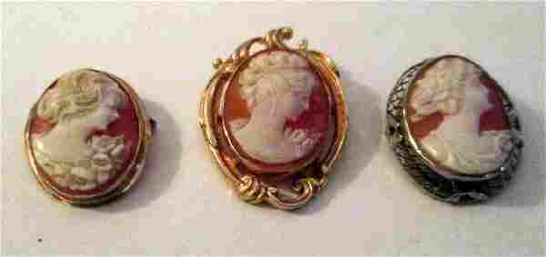 Three Vintage Shell Cameo Brooches Set in Gold