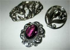 Three Sterling Vintage Brooches