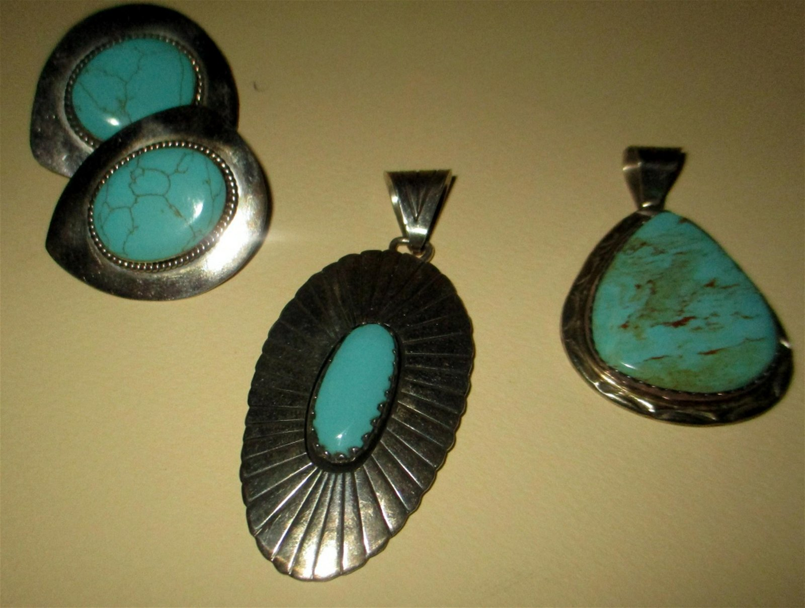 Four Piece Lot of Sterling & Turquoise Jewelry