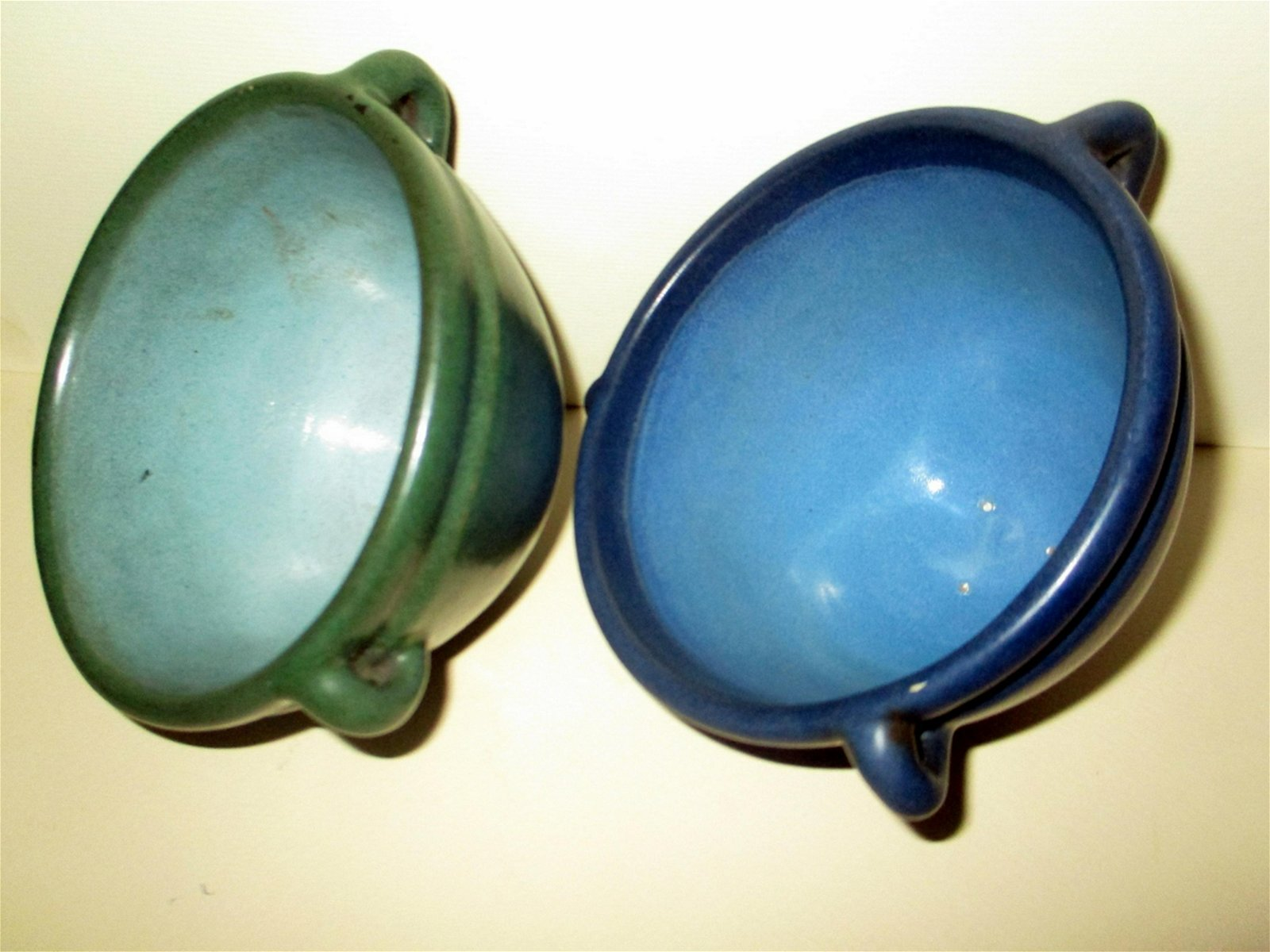 Two Unsigned Marblehead Pottery Hanging Planter