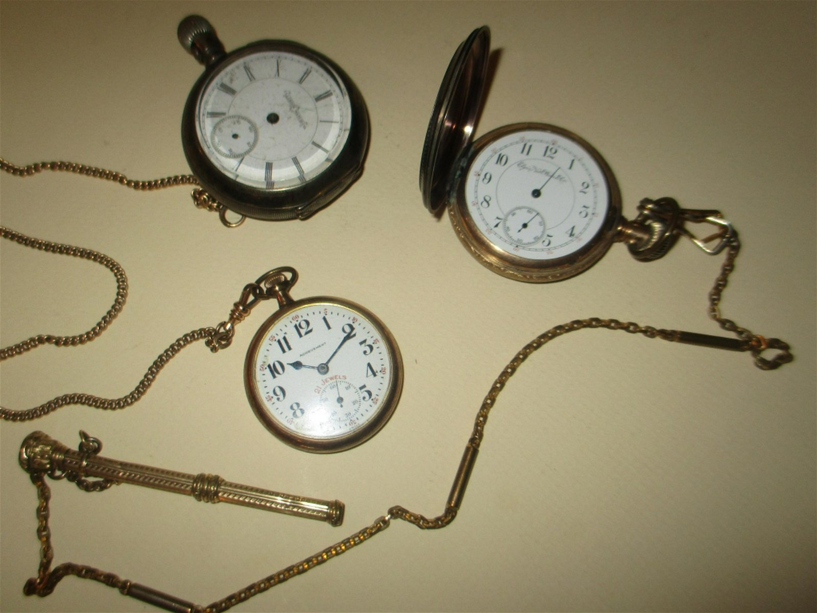 Three Men's Pocket Watches and Accessories