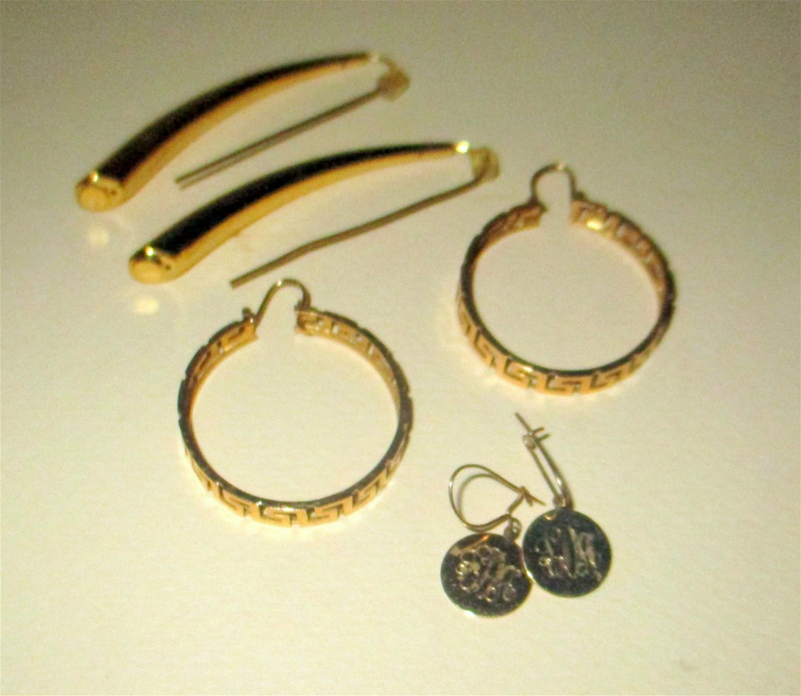 Three Pairs of 14K Yellow Gold Earrings