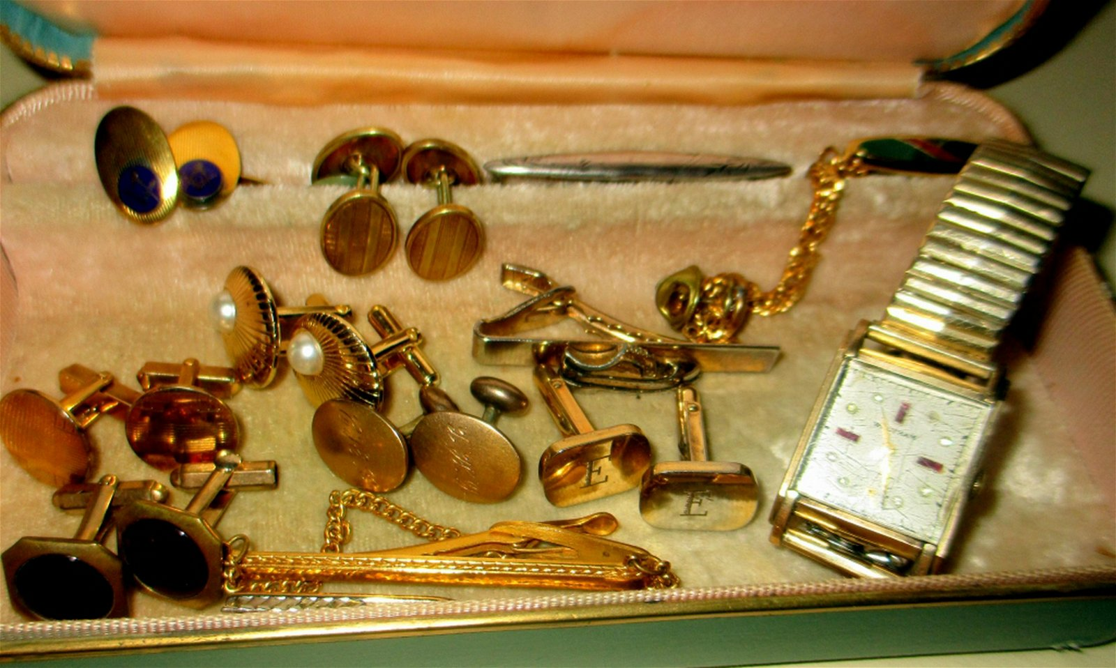 Box of Men's Gold Filled Jewelry