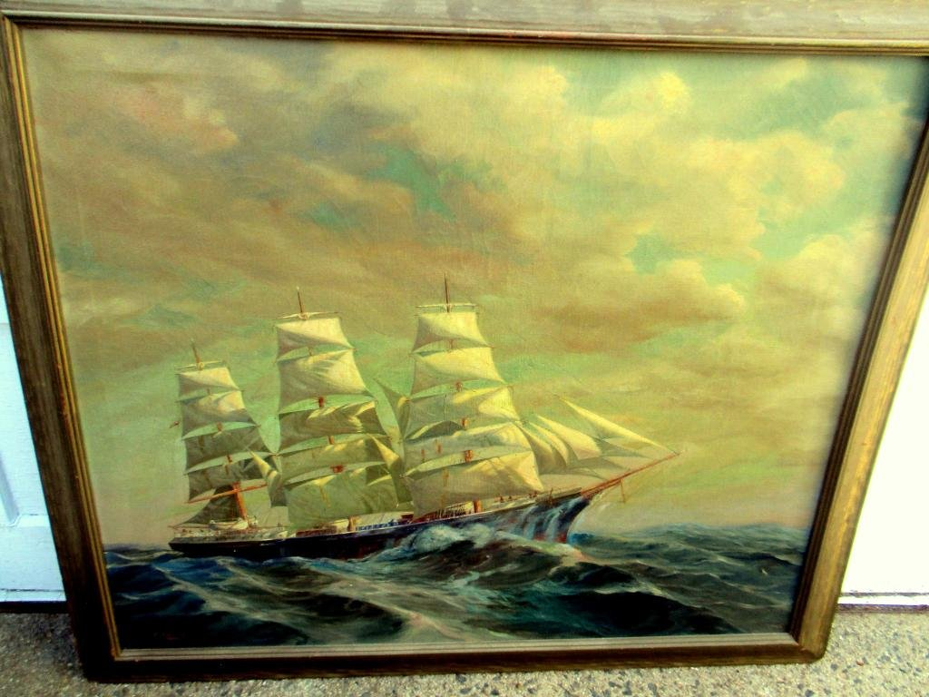 Marine Painting on Canvas by J.W. Anthony