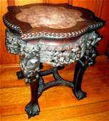 19th C. Chinese Rosewood & Marble