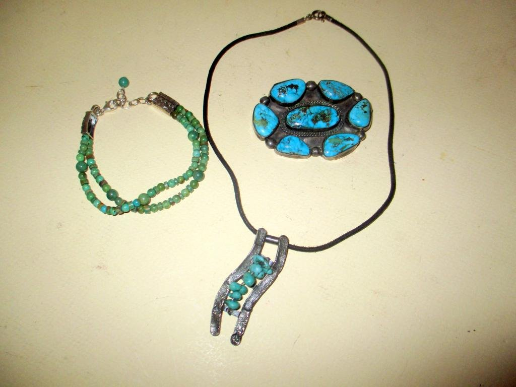 Three Piece Lot of Sterling & Turquoise Jewelry